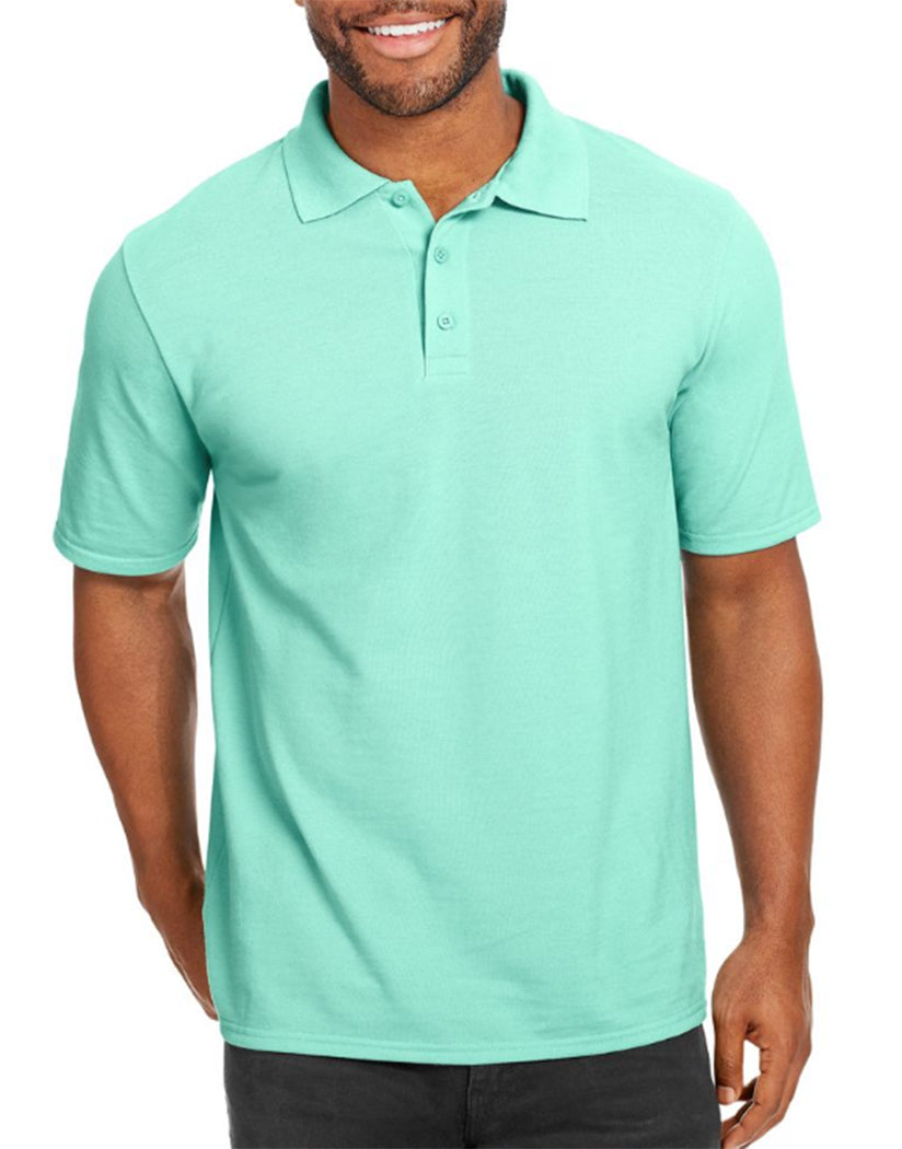 Clean Mint Front Hanes Men X-Temp w/Fresh IQ Pique Polo