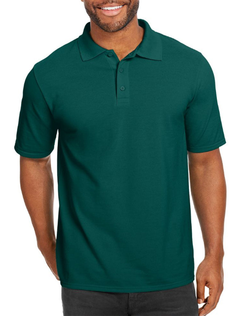 Deep Forest Front Hanes Men X-Temp w/Fresh IQ Pique Polo
