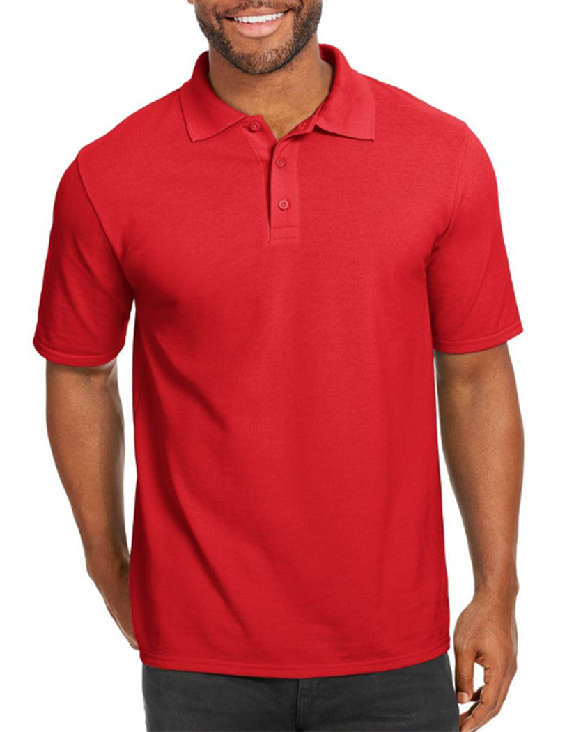 Deep Red Front Hanes Men X-Temp w/Fresh IQ Pique Polo 055P