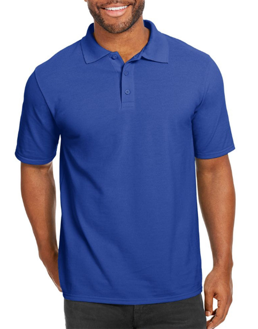 Deep Royal Front Hanes Men X-Temp w/Fresh IQ Pique Polo 055P