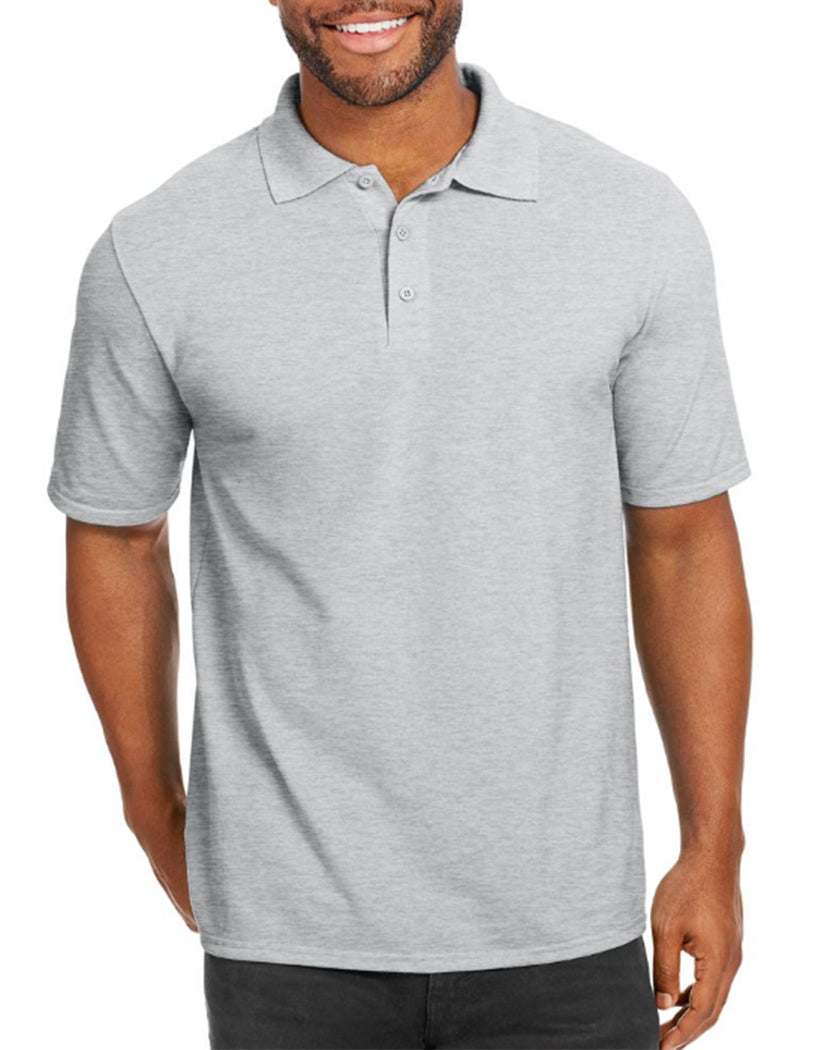 Light Steel Front Hanes Men X-Temp w/Fresh IQ Pique Polo