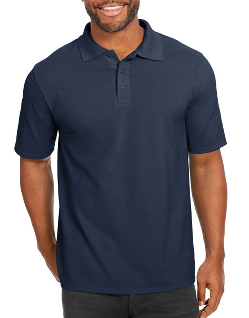 Navy Front Hanes Men X-Temp w/Fresh IQ Pique Polo 055P