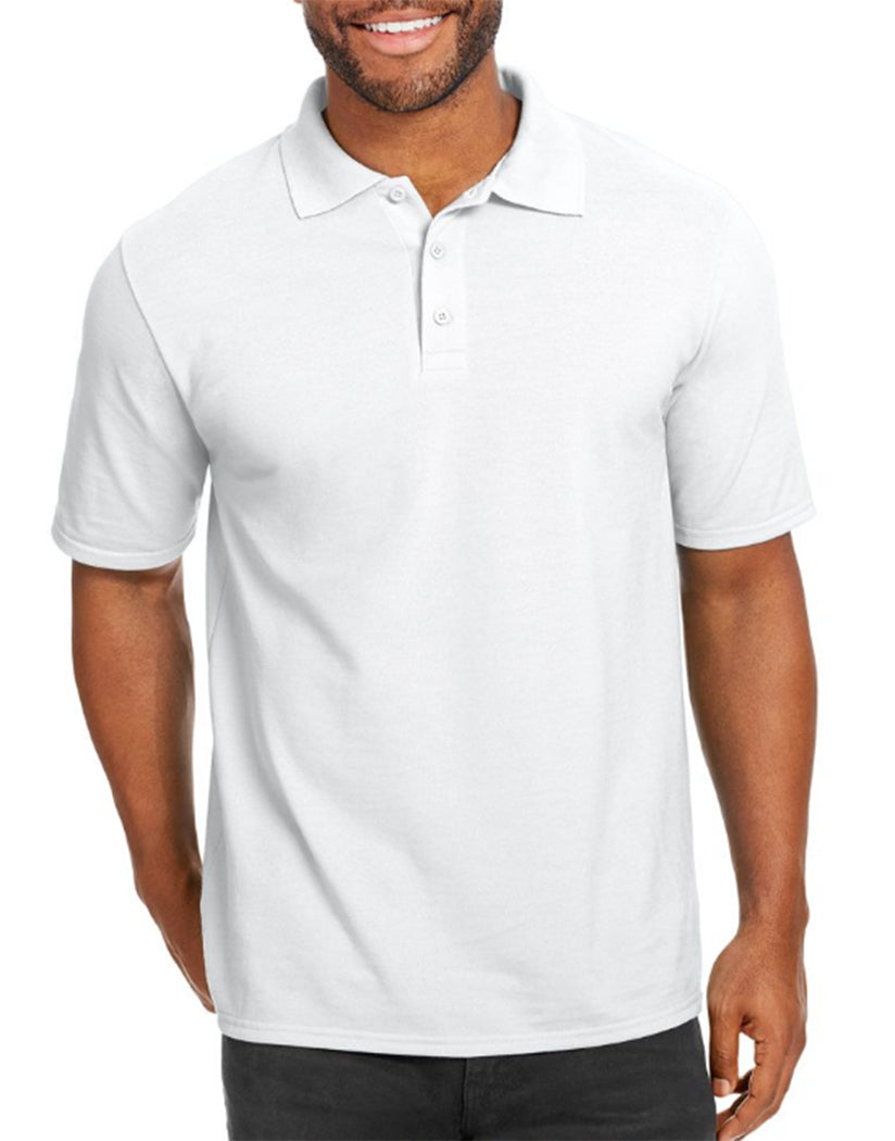 White Front Hanes Men X-Temp w/Fresh IQ Pique Polo