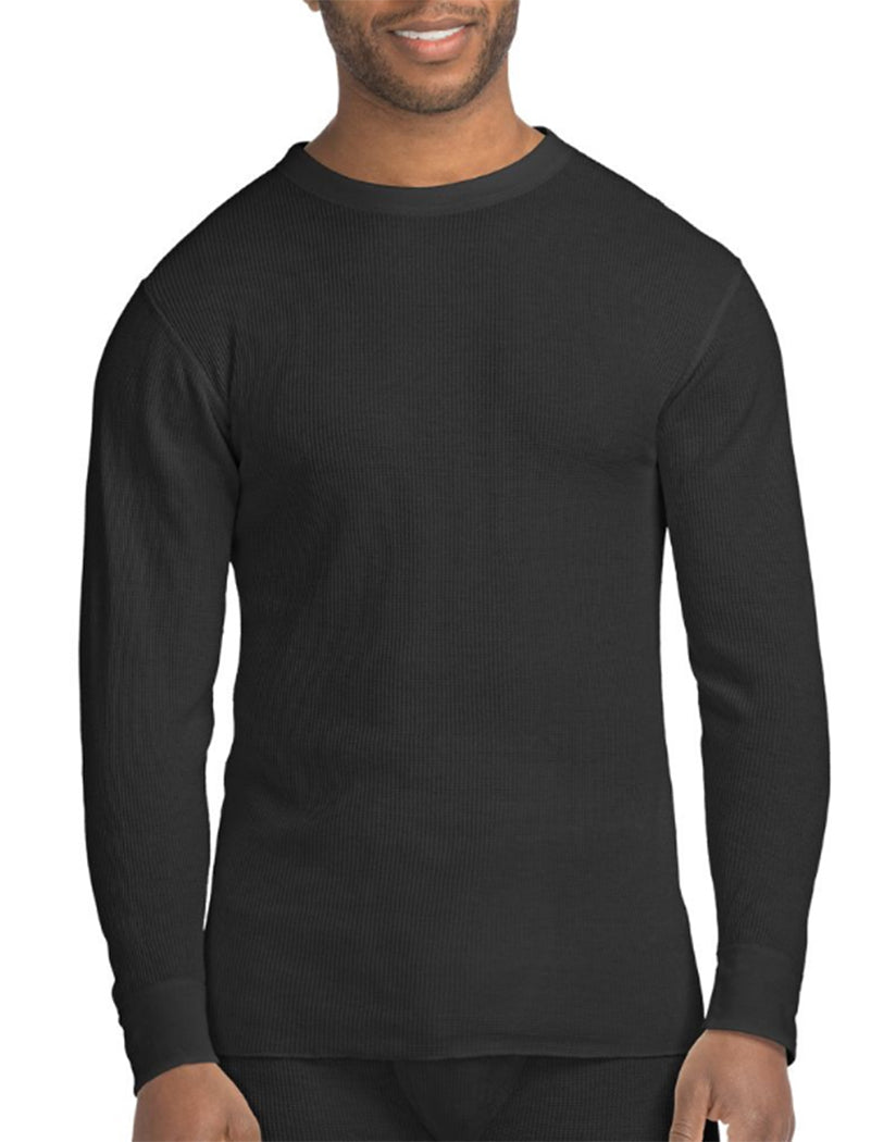 Black Front Hanes X-Temp䋢 Men's Organic Cotton Thermal Crew