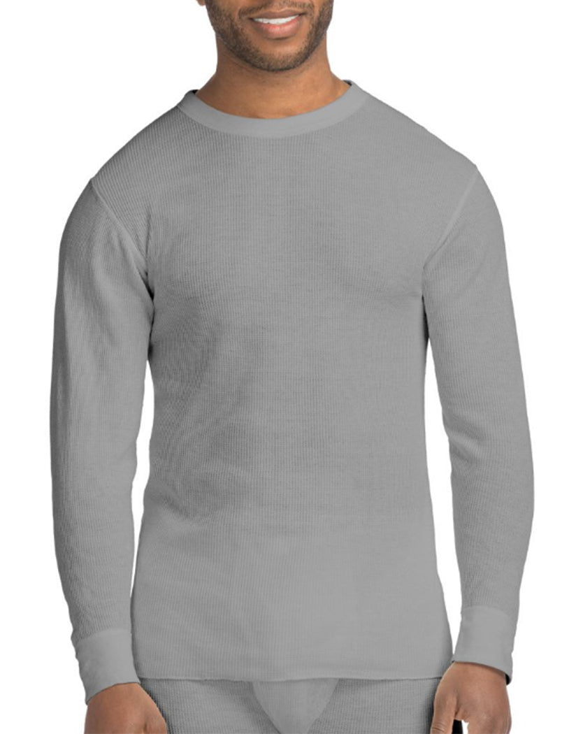 Heather Grey Front Hanes X-Temp䋢 Men's Organic Cotton Thermal Crew