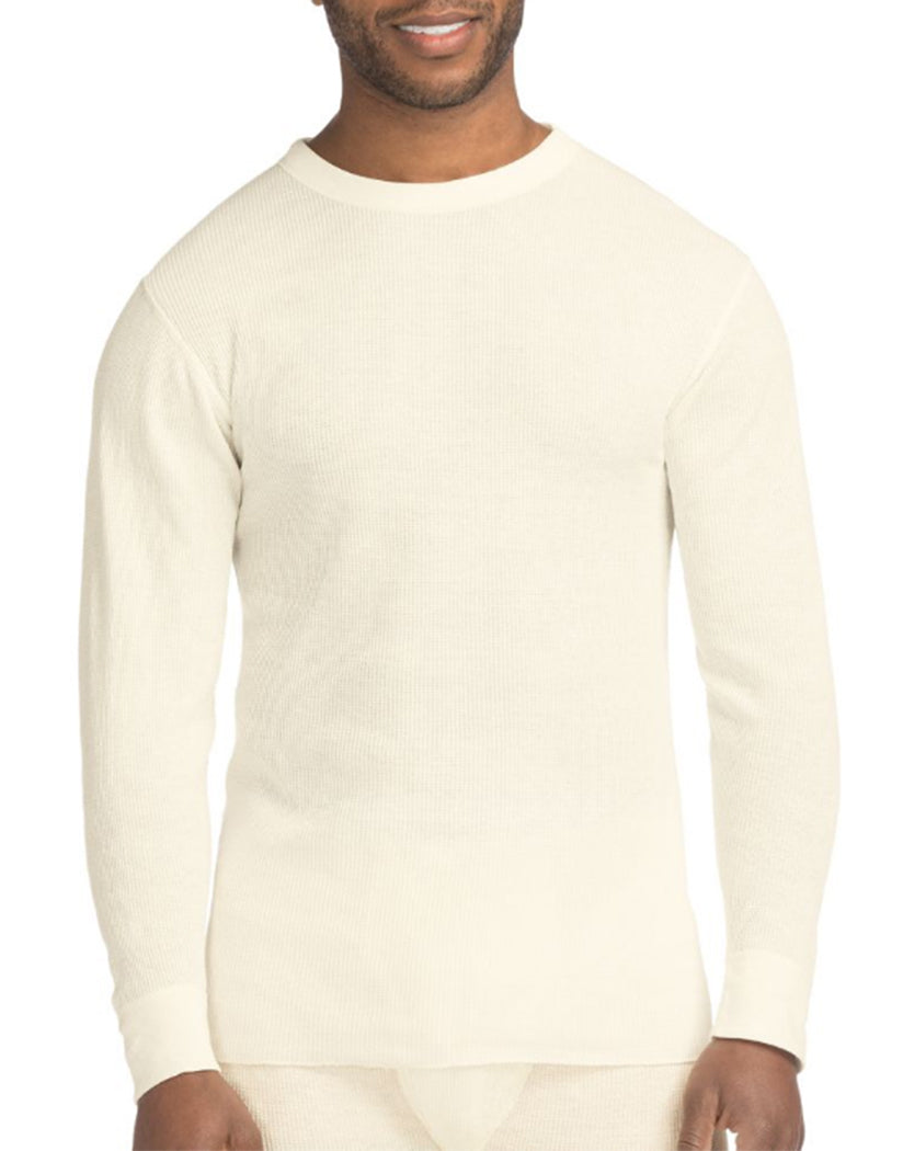 Natural Front Hanes X-Temp䋢 Men's Organic Cotton Thermal Crew