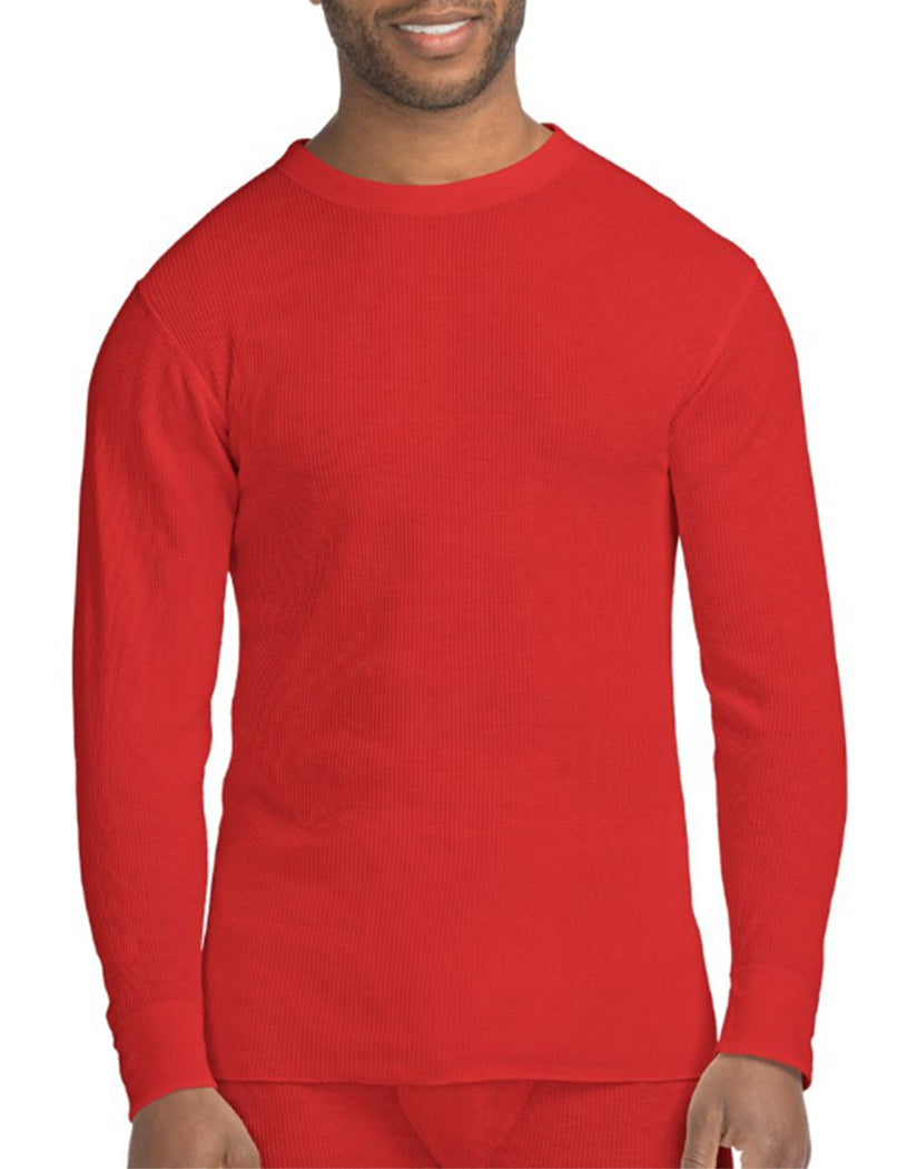 Red Front Hanes X-Temp™ Men's Organic Cotton Thermal Crew