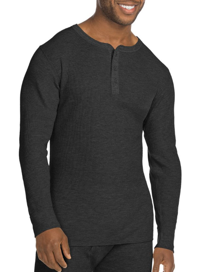 Black Front Hanes X-Temp Mens Organic Cotton Thermal Henley
