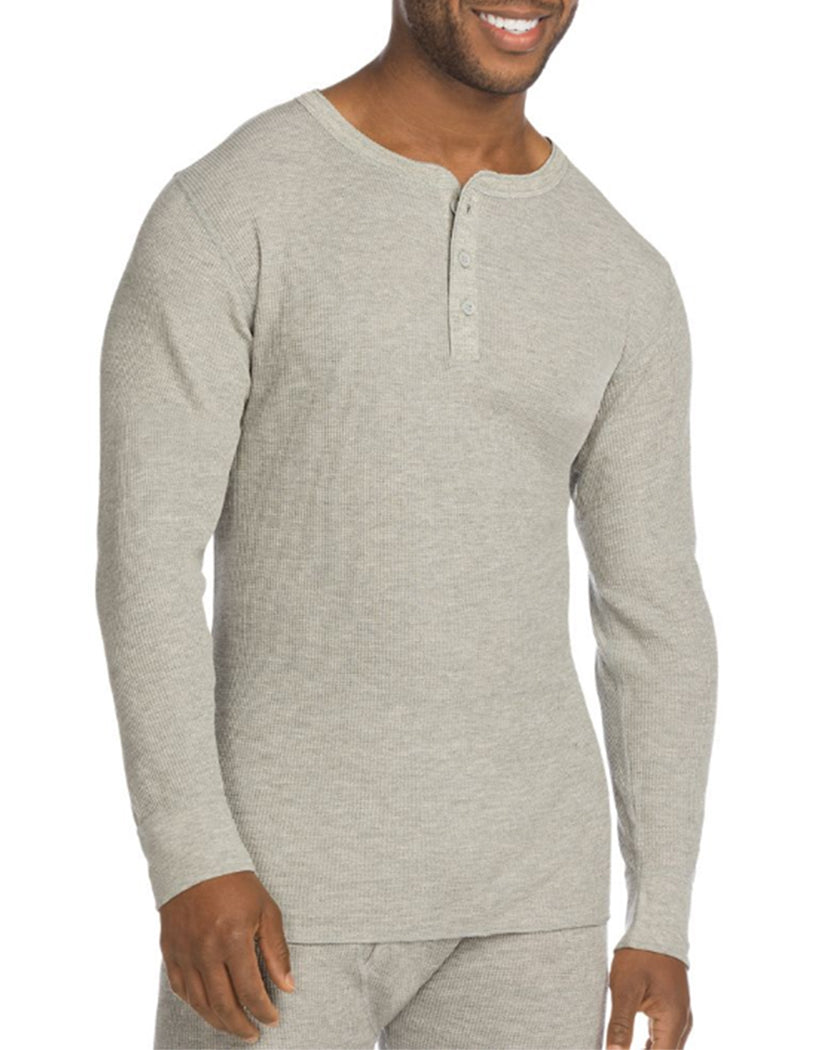 Heather Grey Front Hanes X-Temp Mens Organic Cotton Thermal Henley