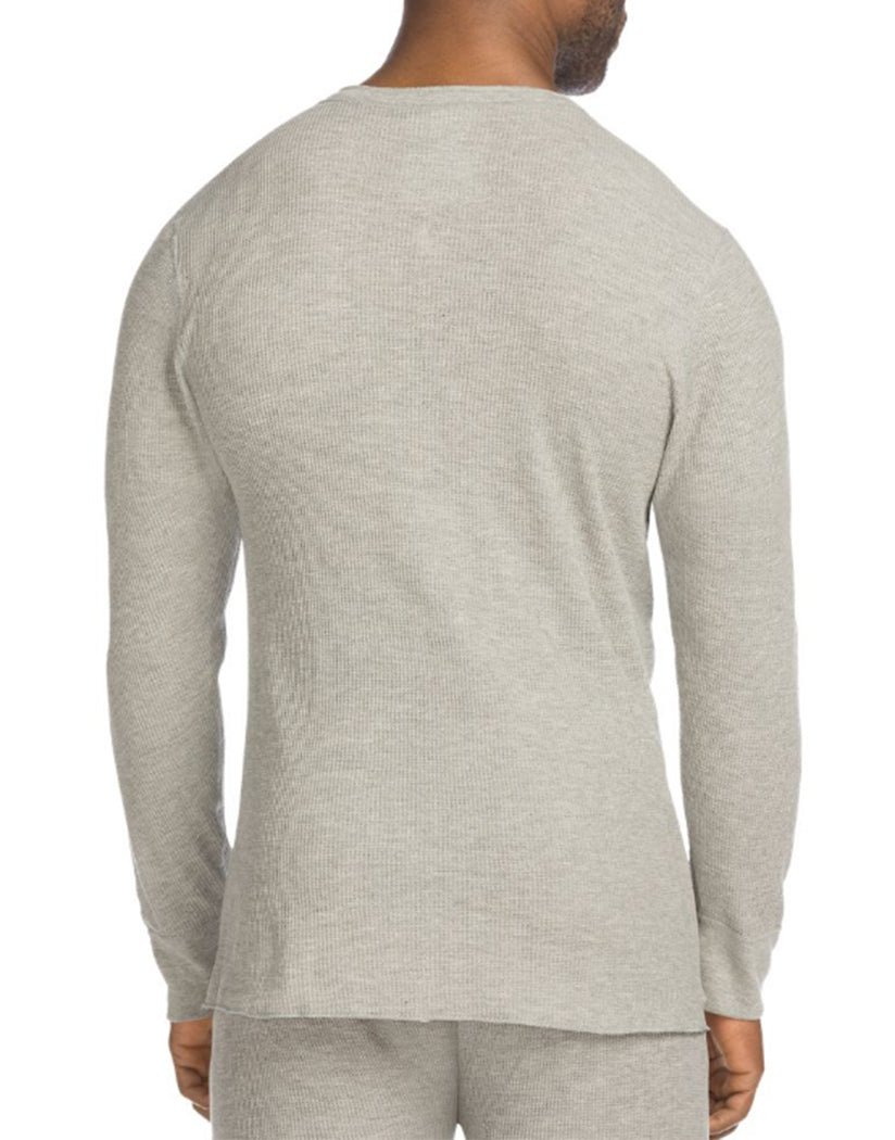 Heather Grey Back Hanes X-Temp Mens Organic Cotton Thermal Henley