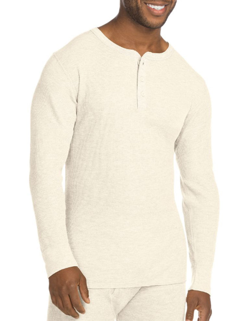Natural Front Hanes X-Temp Mens Organic Cotton Thermal Henley