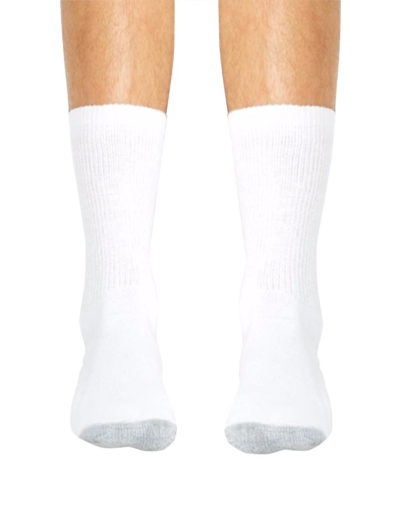 White Front Hanes Cushion Crew Socks 6-Pack