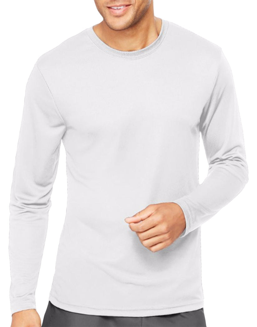 White Front Hanes Cool Dri'performance Mens Long-sleeve T-shirt