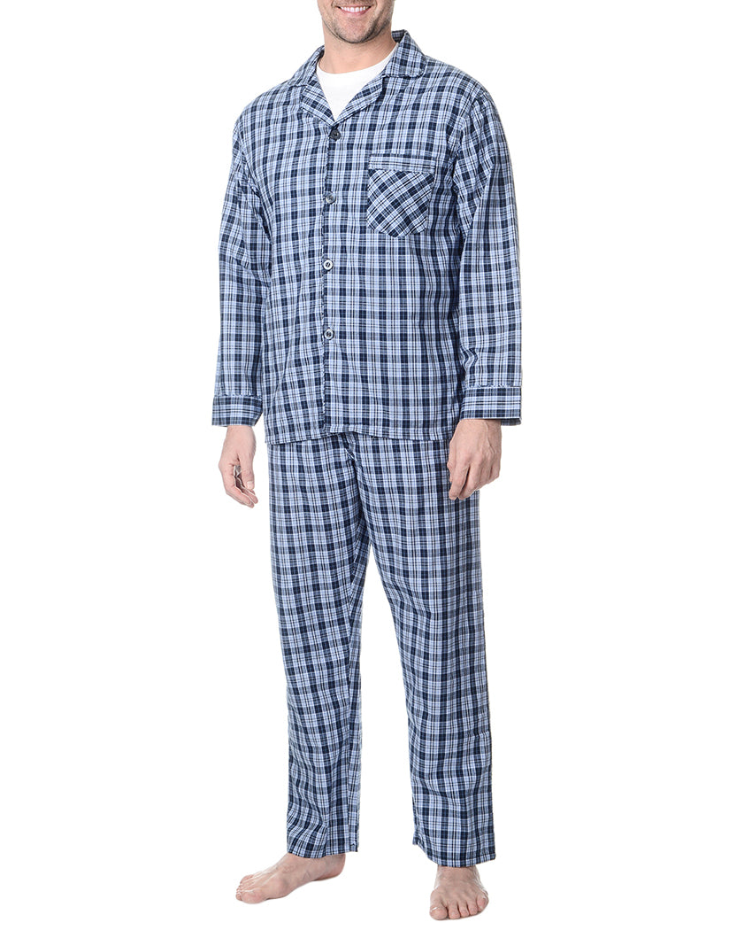 Blue Plaid Front Woven Pajama Set