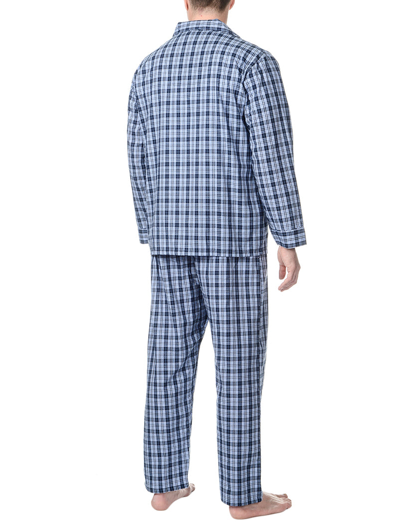 Blue Plaid Back Woven Pajama Set