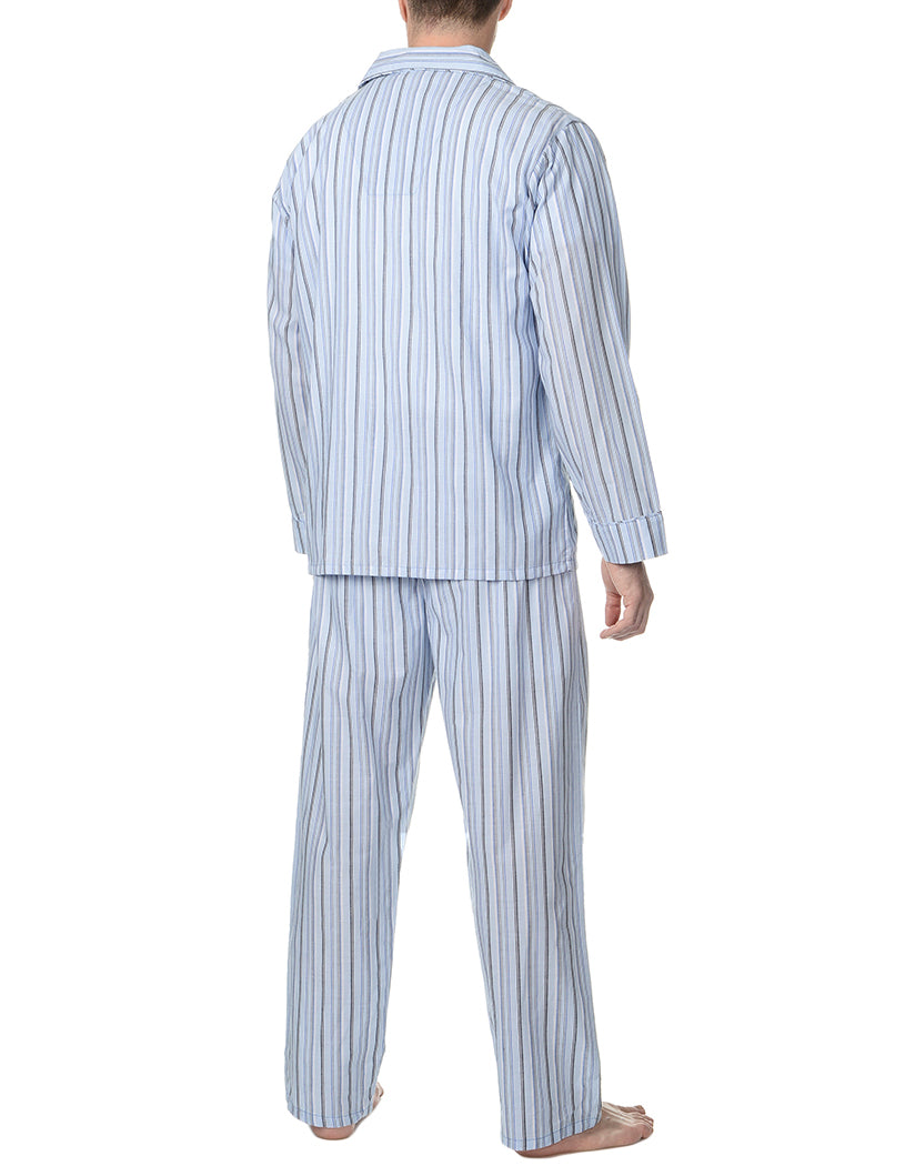 Blue Stripe Back Woven Pajama Set