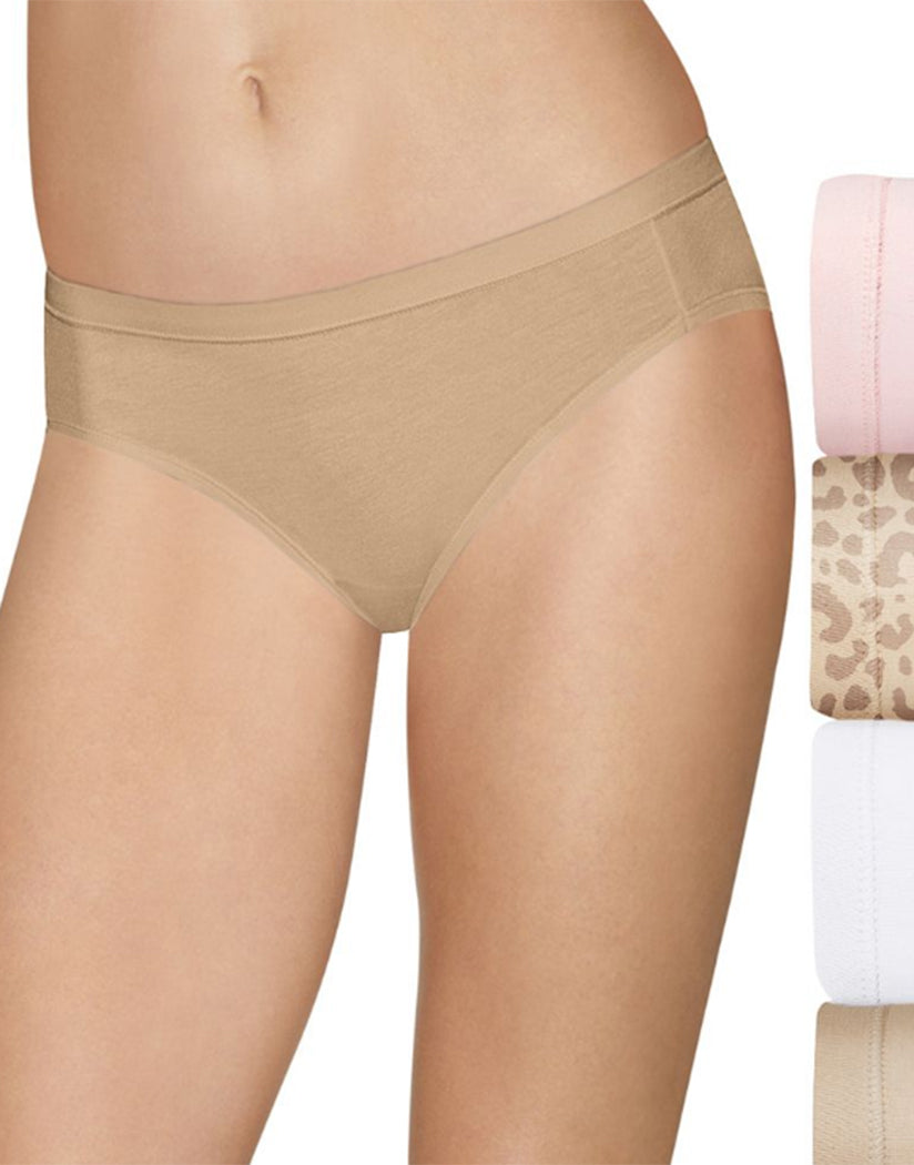 Light Buff/Leo Print/White/Soft Taupe Front Hanes Ultimate Cotton Stretch Bikini 4 Pack 42CSWB