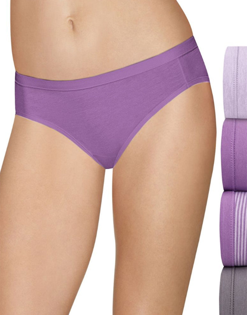 Lilac/Amethyst/Excalibur Front Hanes Ultimate Cotton Stretch Bikini 4 Pack 42CSWB