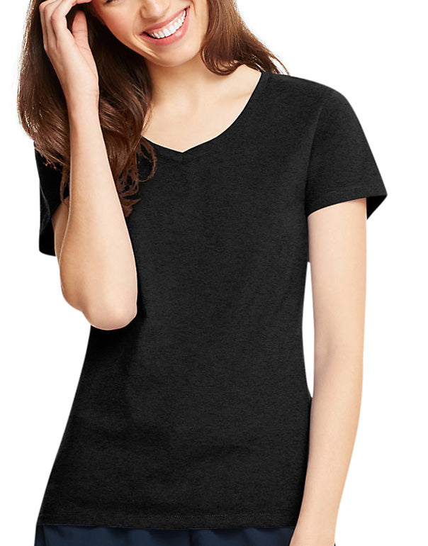 Black Front Hanes Hanes Women X-Temp V-Neck T-Shirt 42V0