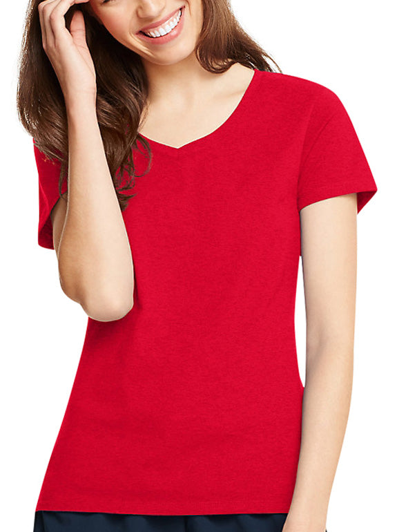 Deep Red Front Hanes Women X-Temp V-Neck T-Shirt 42V0