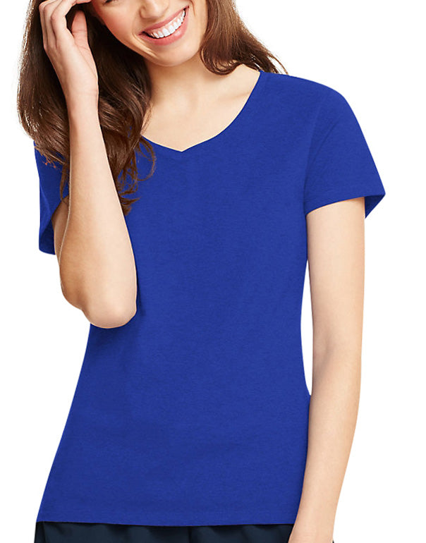 Deep Royal Front Hanes Women X-Temp V-Neck T-Shirt 42V0