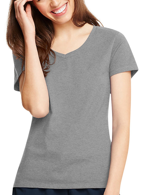 Light Steel Front Hanes Women X-Temp V-Neck T-Shirt 42V0