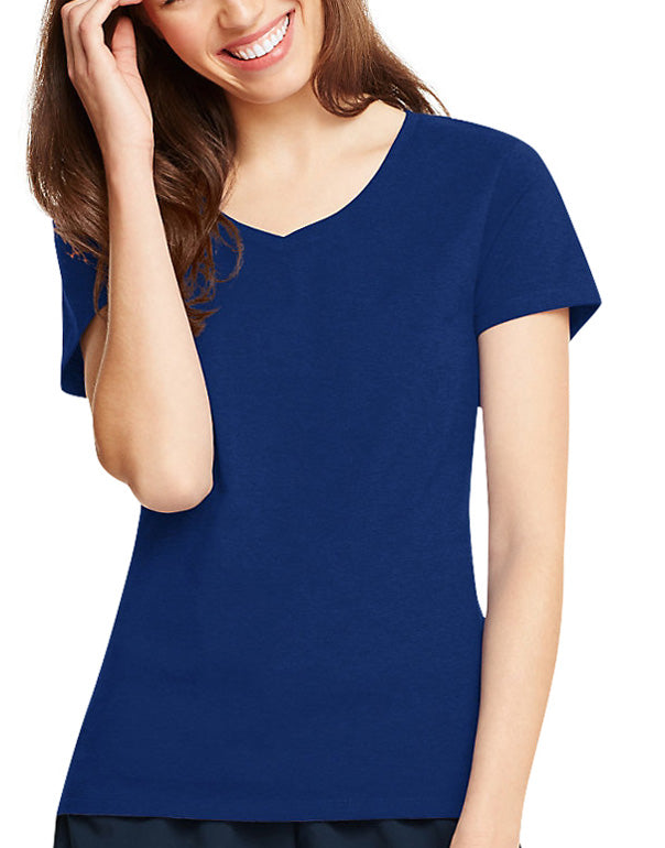 Navy Front Hanes Hanes Women X-Temp V-Neck T-Shirt 42V0