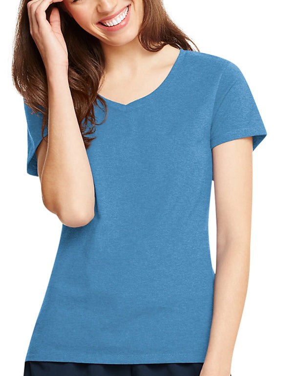 Neon Blue Heather Front Hanes Women X-Temp V-Neck T-Shirt 42V0