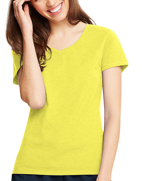 Neon Lemon Heather Front Hanes Women X-Temp V-Neck T-Shirt 42V0