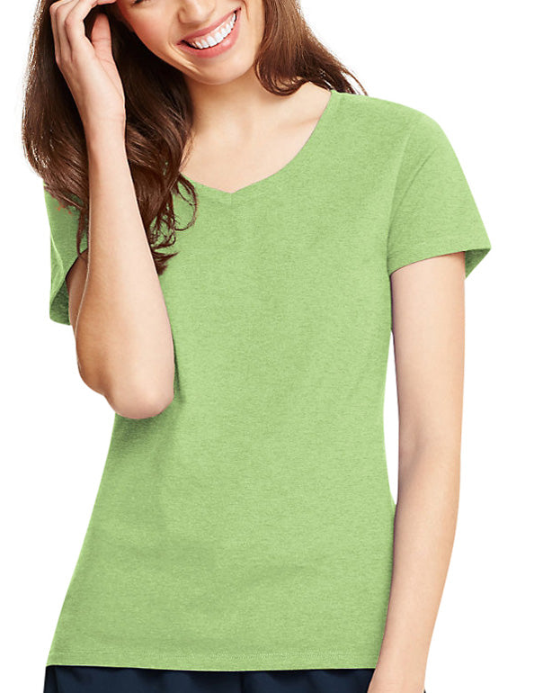 Neon Lime Heather Front Hanes Women X-Temp V-Neck T-Shirt 42V0