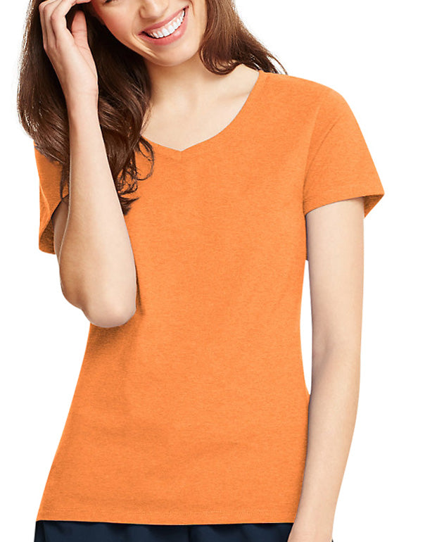 Neon Orange Heather Front Hanes Women X-Temp V-Neck T-Shirt 42V0