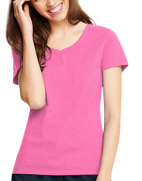 Neon Pink Heather Front Hanes Women X-Temp V-Neck T-Shirt 42V0