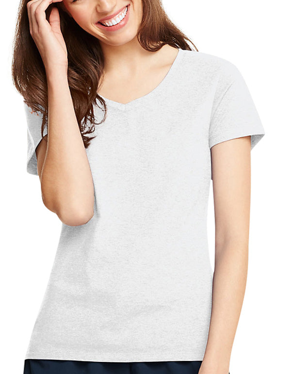 White Front Hanes Women X-Temp V-Neck T-Shirt 42V0