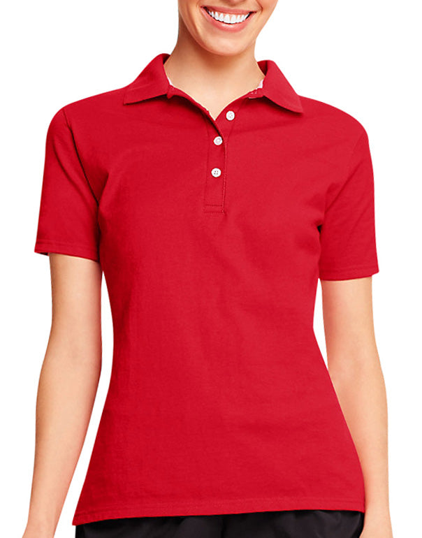 Deep Red Front Hanes X-Temp® Women's Polo