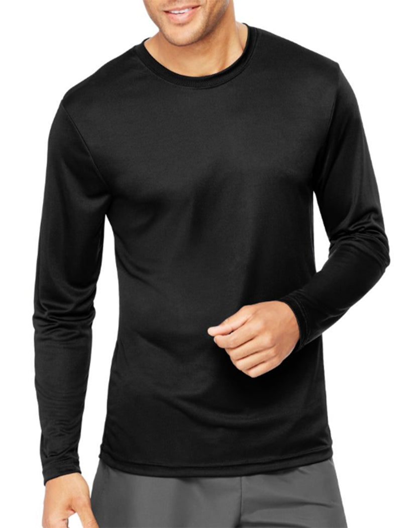 Black Front Hanes Cool Dri'performance Mens Long-sleeve T-shirt
