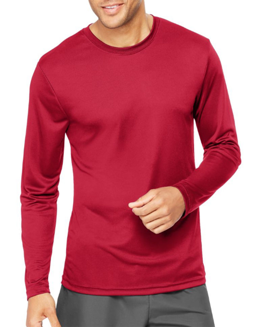 Deep Red Front Hanes Cool Dri'performance Mens Long-sleeve T-shirt