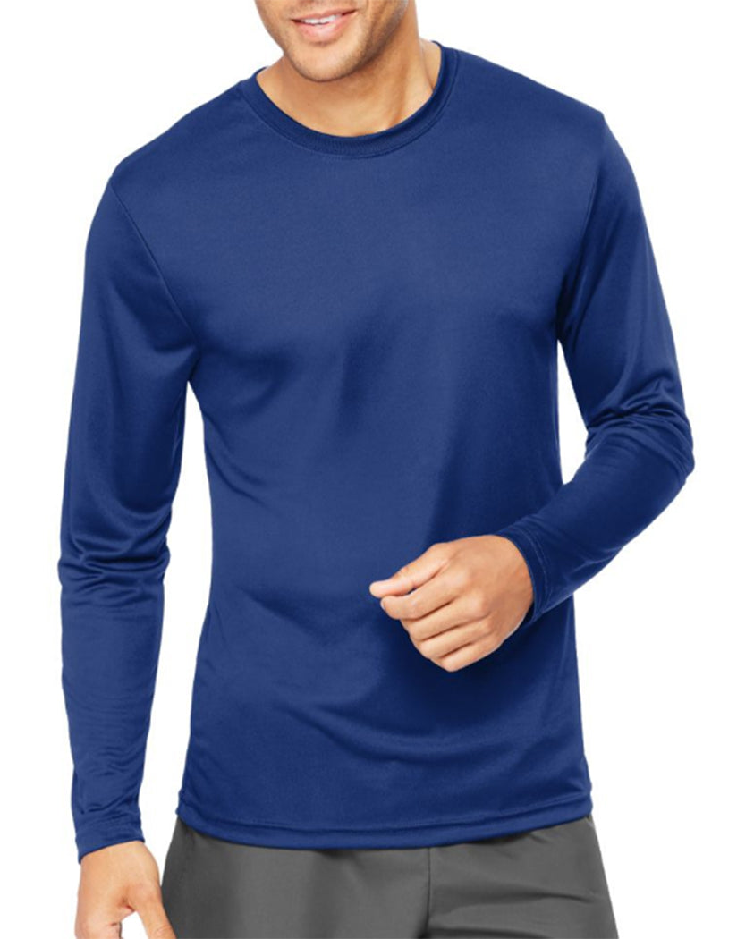 Deep Royal Front Hanes Cool Dri'performance Mens Long-sleeve T-shirt