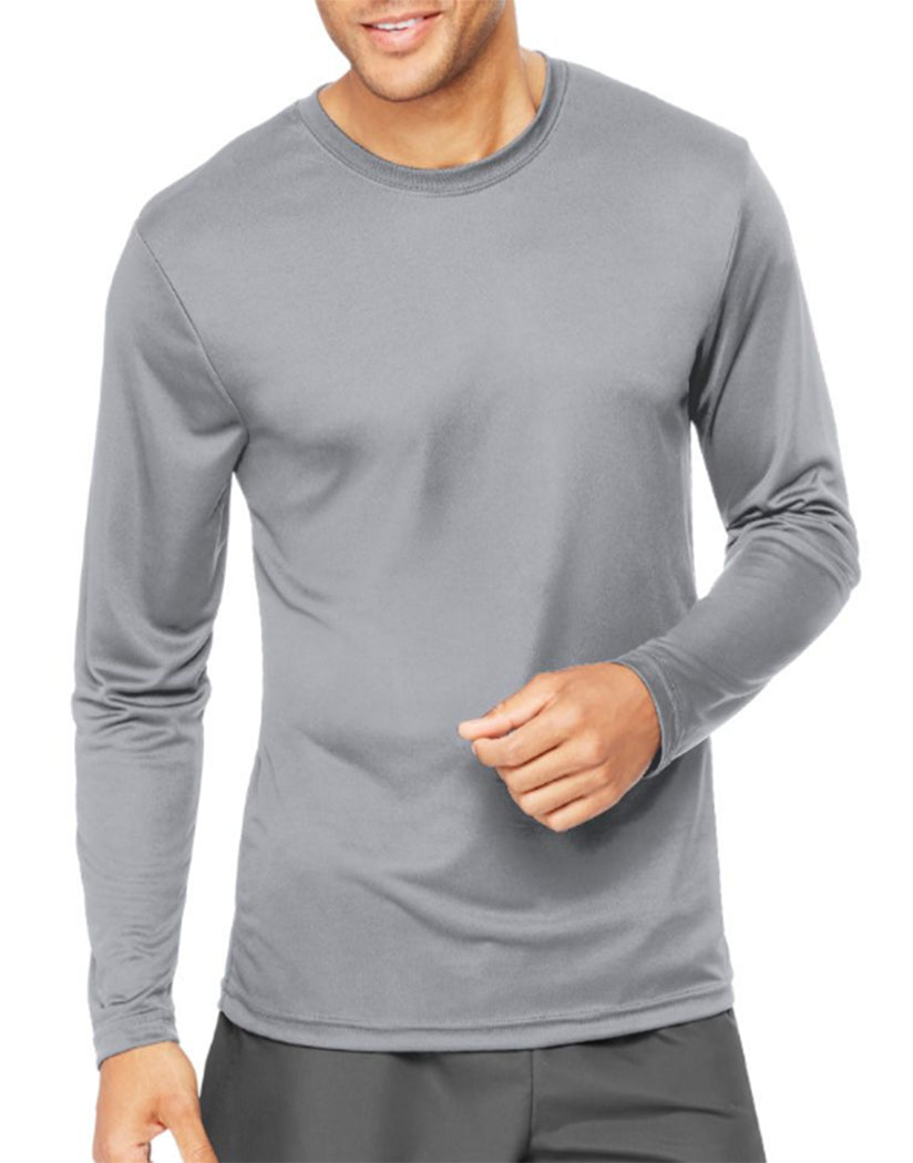 Graphite Front Hanes Cool Dri'performance Mens Long-sleeve T-shirt