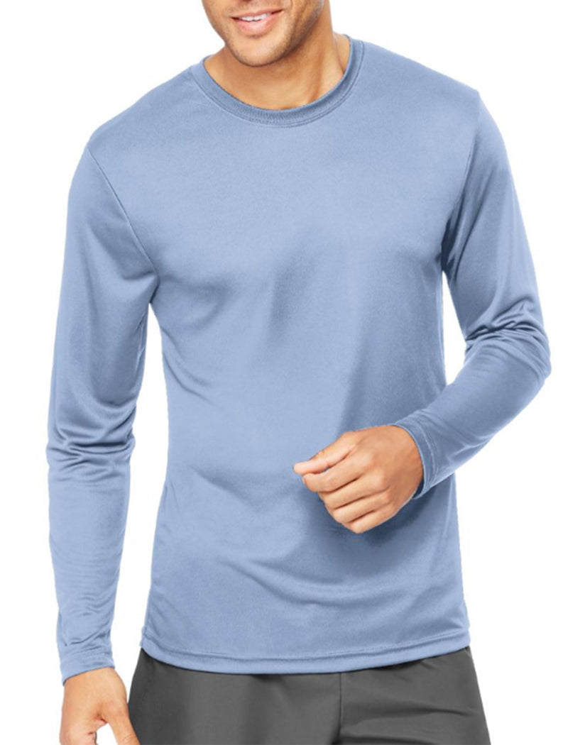 Light Blue Front Hanes Cool Dri'performance Mens Long-sleeve T-shirt