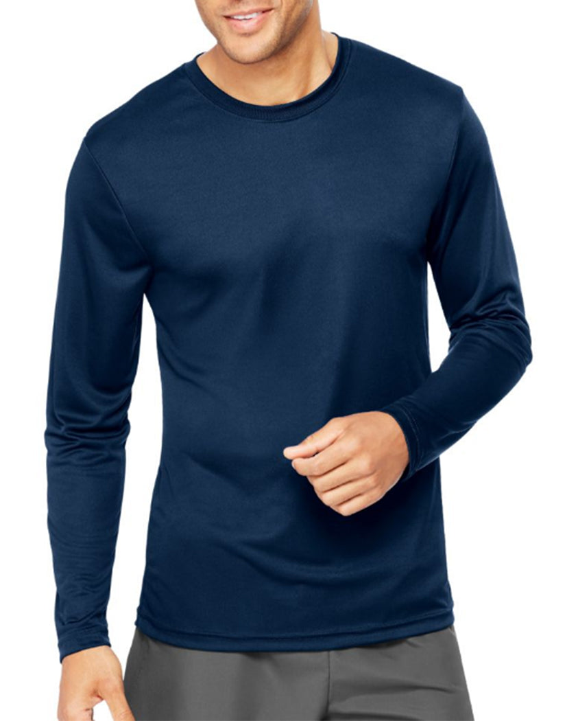 Navy Front Hanes Cool Dri'performance Mens Long-sleeve T-shirt