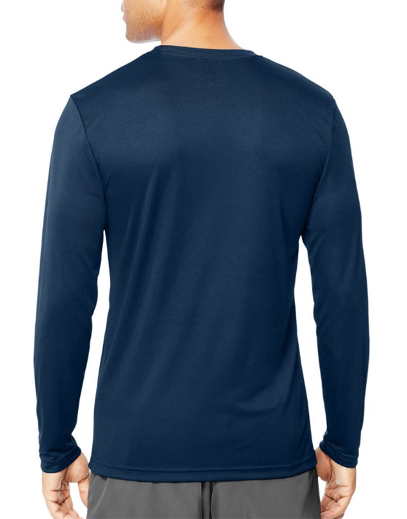 Navy Back Hanes Cool Dri'performance Mens Long-sleeve T-shirt