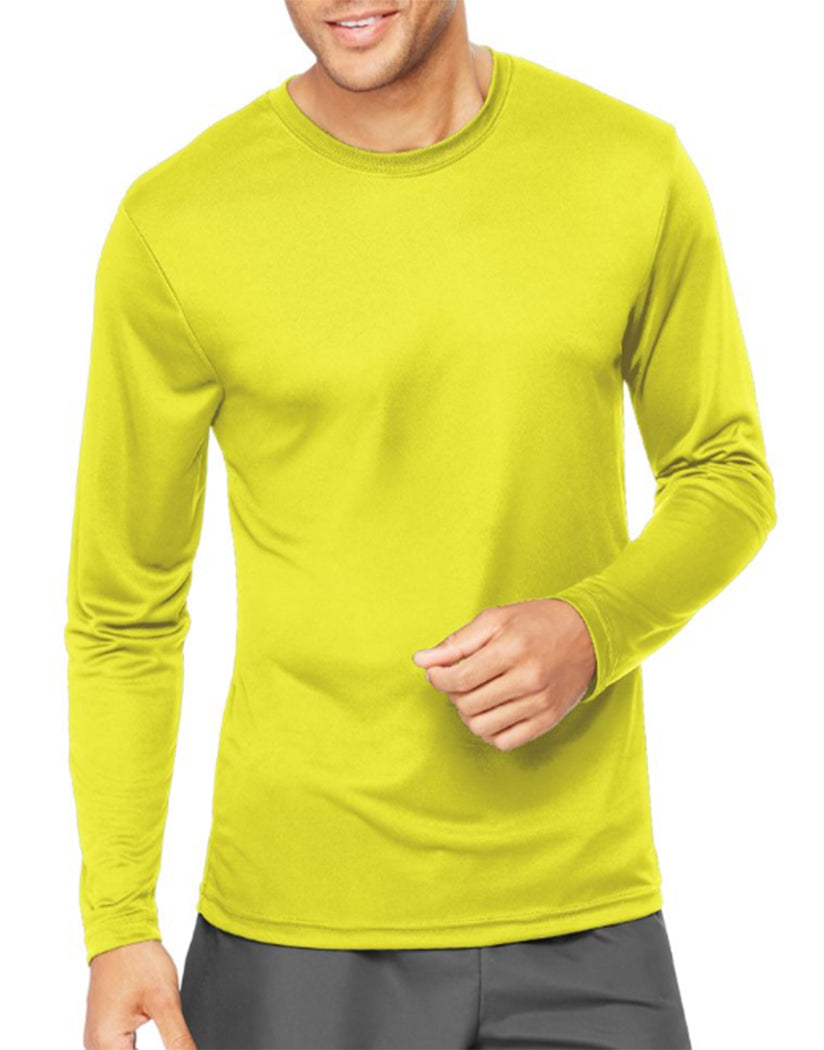 Safety Green Front Hanes Cool Dri'performance Mens Long-sleeve T-shirt