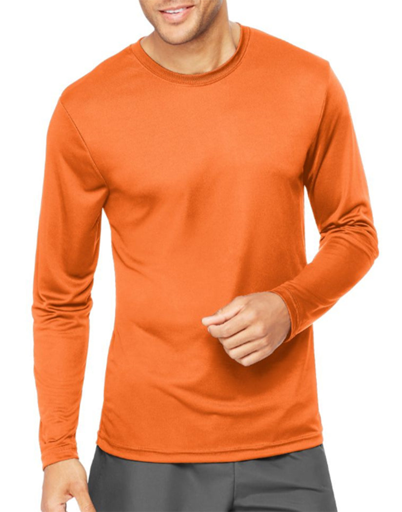 Safety Orange Front Hanes Cool Dri'performance Mens Long-sleeve T-shirt