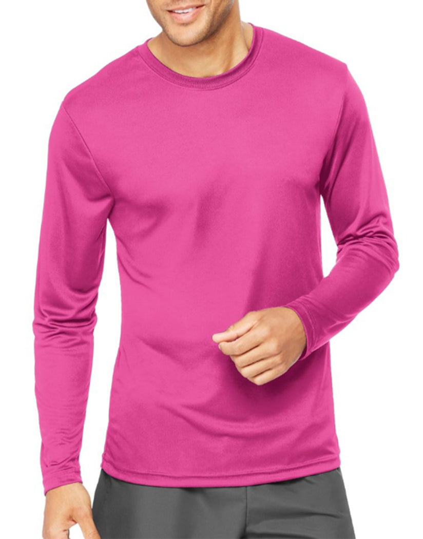 Wow Pink Front Hanes Cool Dri'performance Mens Long-sleeve T-shirt