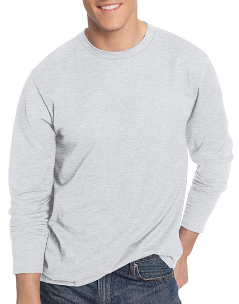 Ash Front Hanes TAGLESS® Nano-T® Men's Long-Sleeve Tee- Large sizes
