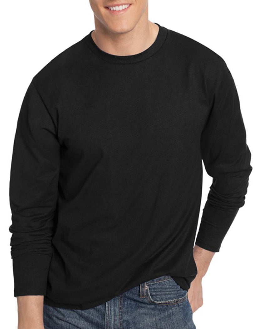 Black Front Hanes TAGLESS® Nano-T® Men's Long-Sleeve Tee- Large sizes