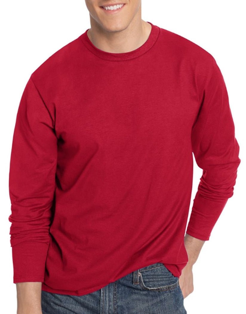 Deep Red Front Hanes TAGLESS® Nano-T® Men's Long-Sleeve Tee- Large sizes