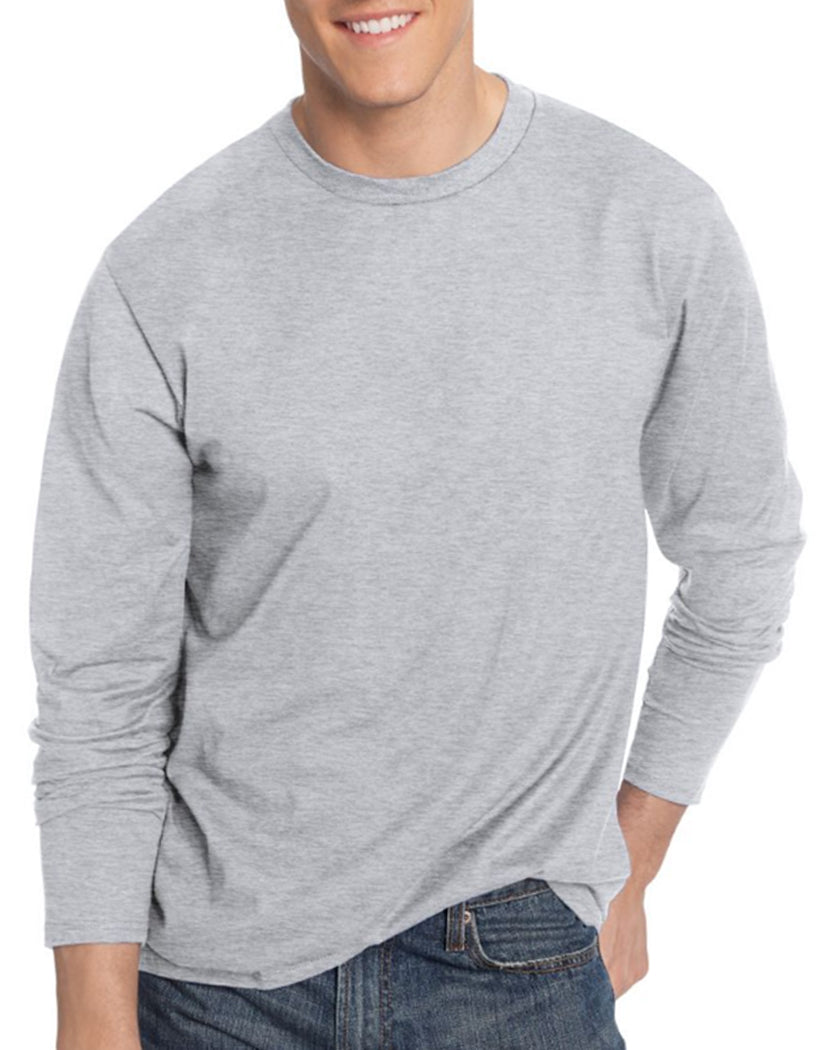 Light Steel Front Hanes TAGLESS® Nano-T® Men's Long-Sleeve Tee- Large sizes