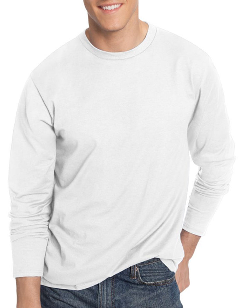 White Front Hanes Men TAGLESS Nano-T Long-Sleeve Tee- Large Sizes 498L