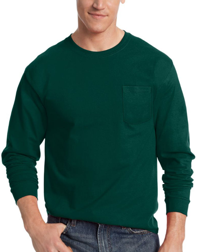 9a9c56f6f3e7 Deep Forest Front Hanes Men's TAGLESSå¨ Long-Sleeve T-Shirt with Pocket 5596